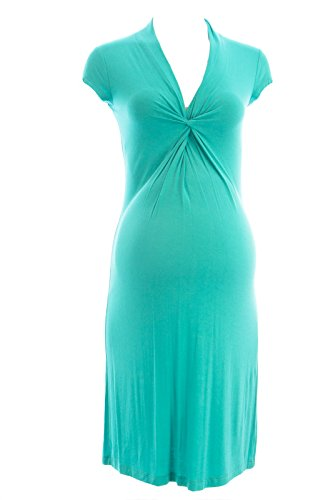 Olian Maternity Women's Twist Accent Front Short Sleeve Dress X-Small Teal