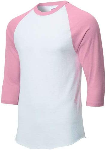 super popular eb0fa 5fe43 Soffe Mens Classic Raglan 3/4 Sleeve T-Shirt White/Pink 2XL ...