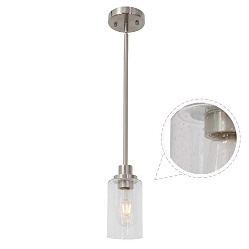 TODOLUZ Modern Hanging 1 Light Pendant Lighting Seedy Glass Shade Adjustable Hight with Brushed Nickel Fixture for Dining Room Kitchen Bathroom