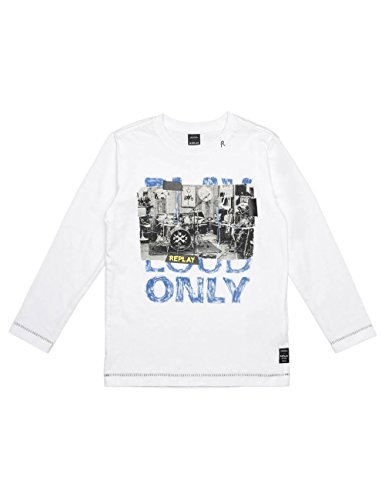 Replay Boy's White Long-Sleeved T-Shirt With Print in Size 10 Years White by Replay