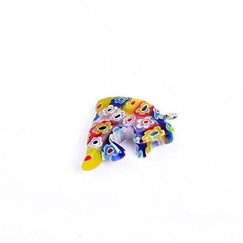 15.5x23MM 5Pcs/lot Dolphin Charm Pendant Flower Saika Lampwork Glazed Glass Animal Pendant For Jewelry Making (Multicolor)