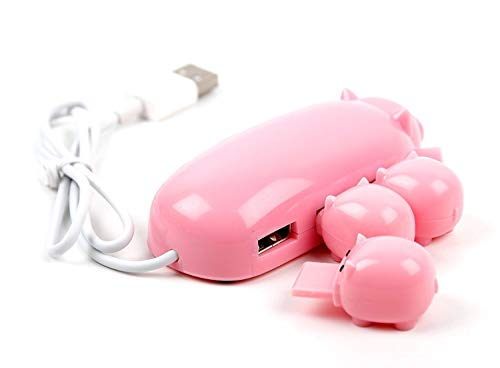 (Portable Cute Mom Pig USB Hub 2.0 High Speed Extension with 3 piglet decoration lids, Toooo cute, Best Gift)