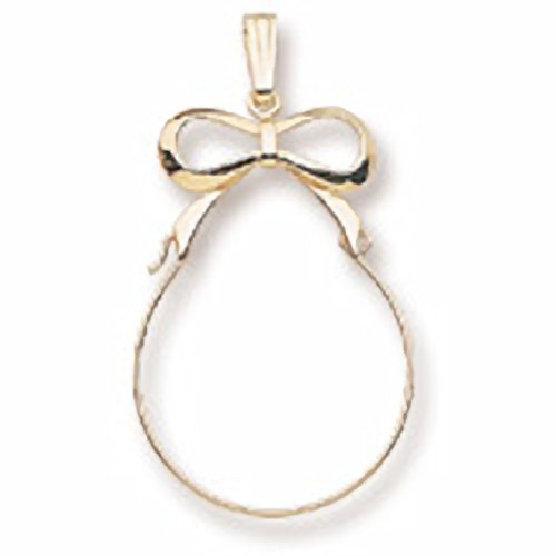 Ribbon Charmholder In 14k Yellow Gold, Charms for Bracelets and Necklaces 14k Yellow Gold Ribbon