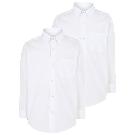 Boys School 2 Pack Long Sleeve Shirts - White | School | George at ASDA