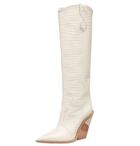 Themost Over The Knee High Boot Womens Cowboy Western Thigh High Boots Wedge Heel Shoes Mid Calf Combat Booties (9, White)