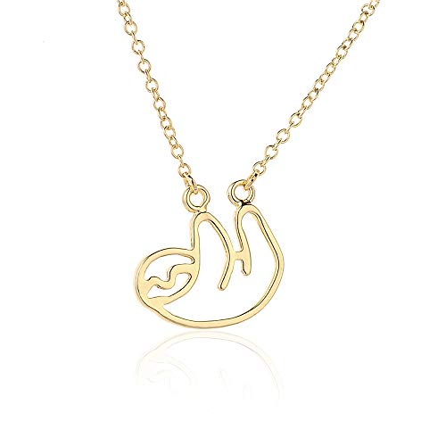 ZZ ZINFANDEL Gold Silver Sloth Charm Necklace - Stylish Cute Animal Peandant Jewelry (D:Gold Necklace 2)