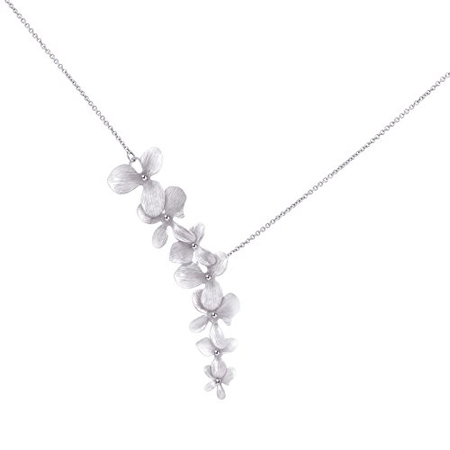 Ann Tarry Gold Plated Orchid Flower Necklace or Bracelet + Beautiful Gift Box (Silver Tone Necklace) - Delicate Orchid