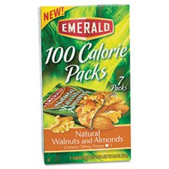EMERALD 54325 100 Calorie Pack Walnuts and Almonds, .56oz Packs, 7/Box
