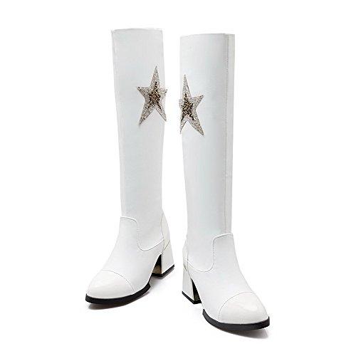 AllhqFashion Damen Knie Hohe Ziehen auf Blend-Materialien Mittler Absatz Rund Zehe Stiefel Weiß