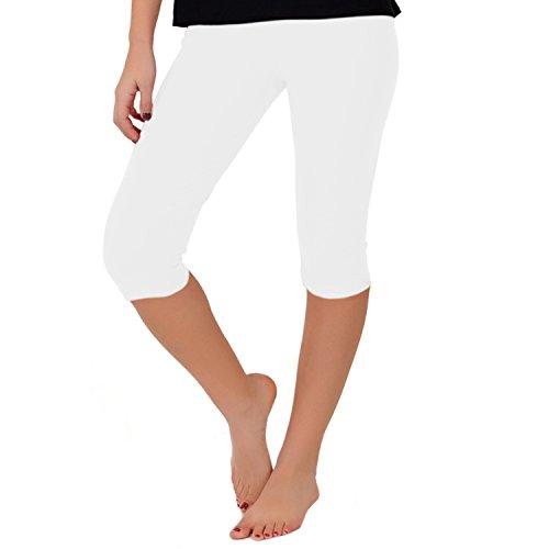 Stretch is Comfort Women's Teamwear Knee Length Leggings White (Below Knee Leggings)