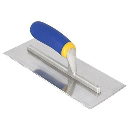QEP 3/16in. x 5/32in. V Mega Grip Stainless Steel Notched Trowel by QEP