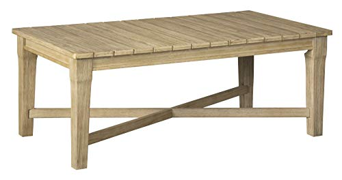(Ashley Furniture Signature Design - Clare View Outdoor Rectangular Cocktail Table - Slatted Top - Eucalyptus Wood - Beige)