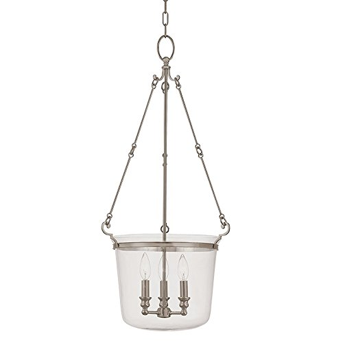 (Quinton 3-Light Pendant - Historic Nickel Finish with Clear Glass Shade)