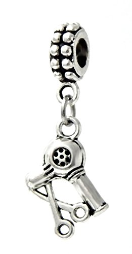 - J&M Dangle Barber's Scissors and Blow Dryer Charm Bead for Charms Bracelets