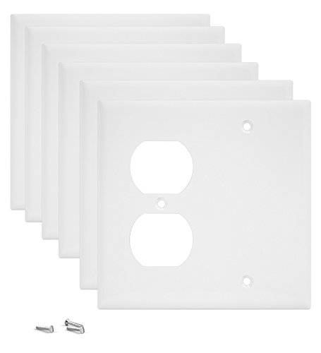 Pack of 6 Wall Plate Outlet Switch Covers by SleekLighting | Decorative Plastic White Look | Variety of Styles: Decorator/Blank/Toggle/Duplex / & Combo | Size: 2 Gang Combo Blank and Duplex