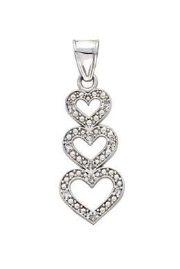 Blanc 14 carats 3 diamants bruts JewelryWeb-Pendentif Coeur