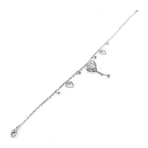 Glamorousky Elegant Heart Anklet with Silver Austrian Crystals, 2016 upgrade ver. (1842)