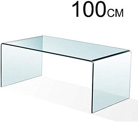 Mesa de Centro, Cristal Curvado, 100 x 48 x 43 cm (Medida ...