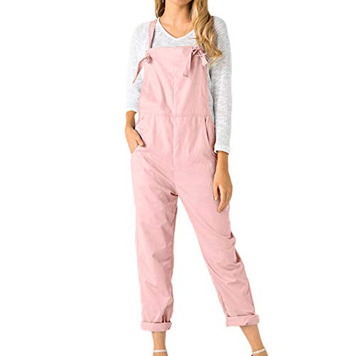Women's Strap Overall Pockets Long Playsuit Casual Baggy Sleeveless Pants Jumpsuit Trousers Pink ()