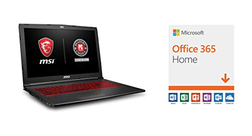 "MSI GV62 8RD-200 15.6"" Full HD Performance Gaming Laptop PC i5-8300H, GTX 1050Ti 4G, 8GB RAM, 16GB Intel Optane Memory + 1TB HDD, Win 10 64 bit, Black, Steelseries Red Backlit  Keys with Microsoft Office 365 Home"