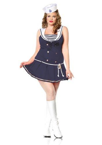 Leg Avenue Women's Shipmate Cutie Plus Size Dress, Navy, 3x/4x