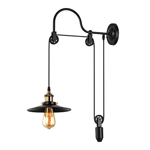BAYCHEER Industrial Adjustable Gooseneck Wall Sconce Mounted Lamp Pulley Wall Lamp Wheel Wall Light use E26 Light Bulb Socket for Indoor Restaurant Barn, Black