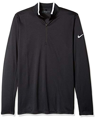 NIKE Men's Dry Half-Zip Golf Shirt, Black/White/White, X-Large (Nike Mens Therma Long Sleeve Quarter Zip Shirt)