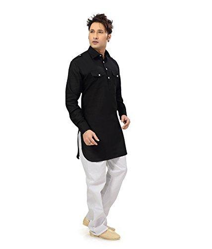 Royal Kurta Men's Summer Wear Fine Cotton Blended Straight Kurta 44 Black