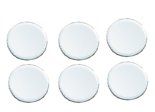 Biedermann & Sons 4-Inch Round-Shaped Beveled Mirror Plates, Set of 6 by Biedermann & Sons