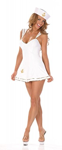 Nom de Plume, Inc Women's Sexy Sailor Dress Costume With Hat Small White - Sexy Sailor Hat