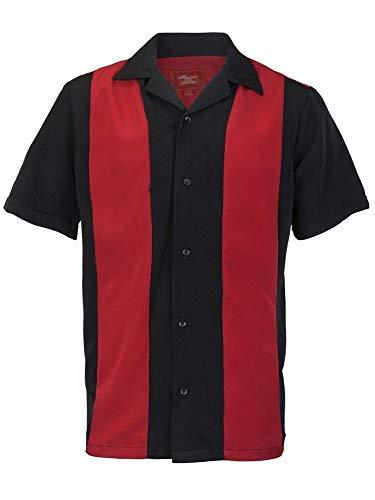 Classic Guayabera - Men's Retro Classic Two Toned Guayabera Bowling Shirt Casual Dress Shirt (Red/Black, 2XL)
