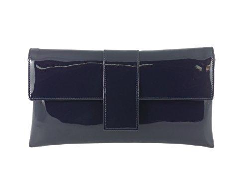 Loni - Bolso de mano de fiesta (piel sintética, con tira para hombro) azul oscuro