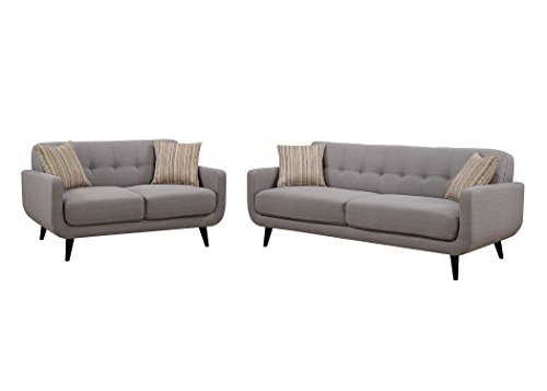 Christies Home Living Crystal Gray 3 Piece Sofa, Love Seat and Arm Chair Living Room Set 31CHy3b4tqL