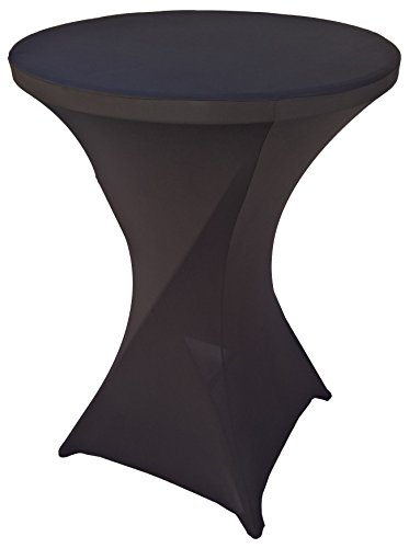 Goldstream Point Black 32 Inch Round x 43 Inch Tall Spandex Cocktail Tablecloth Folding Cover Stretch ()