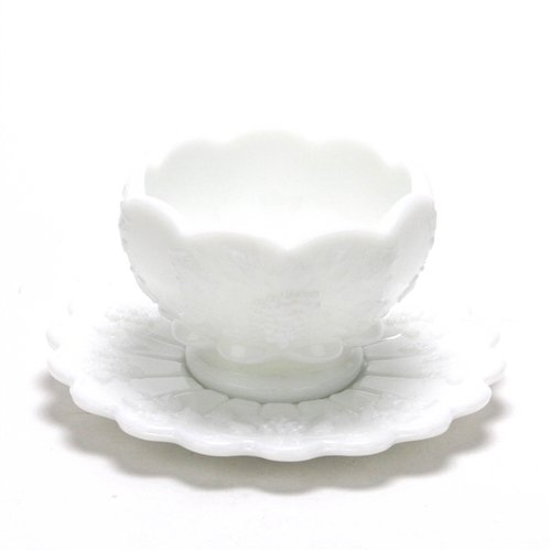 Paneled Grape Milk Glass - Paneled Grape Milk Glass by Westmoreland, Glass Mayonnaise Bowl