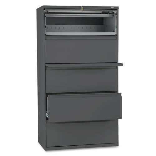 (HON 885LS 800 Series Five-Drawer Lateral File, Roll-Out/Posting Shelves, 36w x 67h, Charcl)