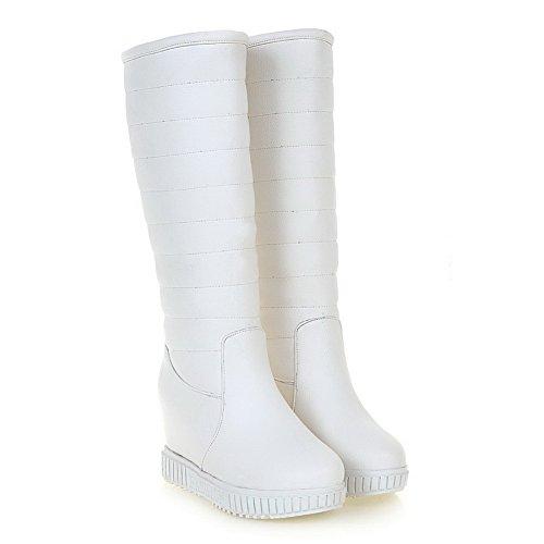 Allhqfashion Mujer-pull-on High-heels Pu Sólido Mid-top Botas Blanco
