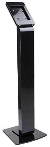 Hinged Stand (Displays2go 43.5-inch Tall Floor Stand Podium for iPad 2, Hinged Enclosure with Double Locks, Black Aluminum)