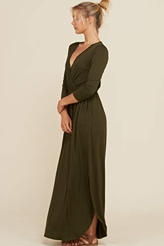 Maxi 3XL Detail Side Slits 4 Sleeve Annabelle Shirring Bust Length Full 3 Olive Dress Women's Wrap S xZg71w