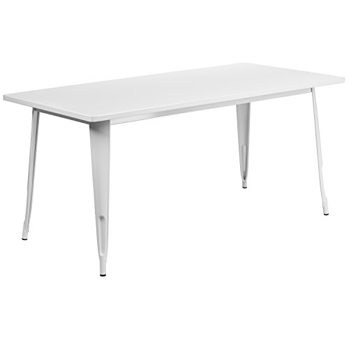 Flash Furniture 31.5'' x 63'' Rectangular White Metal Indoor-Outdoor Table (Outdoor Dining Metal Table White)