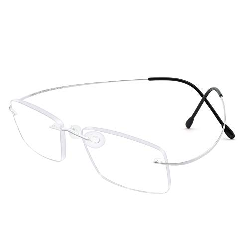 Titanium Reader Men Women Lightweight Rectangular Rimless Hingeless Reading Glasses 1 1.5 2 2.5 3 3.5(150)