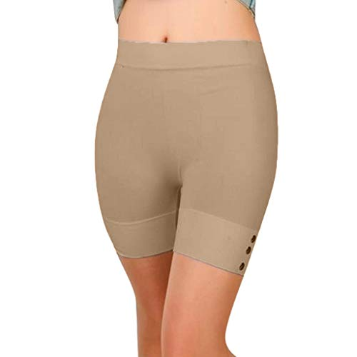Toponly High Waist Yoga Shorts, Workout Running Shorts with Side Pockets Tummy Control Compression Shorts for Women Khaki