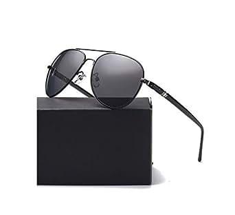 Carl Louison Polarized Aviator Metal Thick Leg Unisex Sunglasses (15; Black Black)