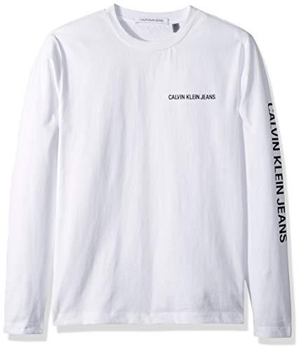 (Calvin Klein Men's Long Sleeve Logo T-Shirt, bright white, Medium)