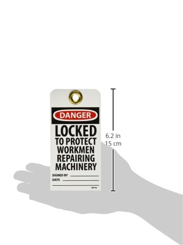 Unrippable Vinyl Pack of 25 6 Height LOCKED TO PROTECT WORKMEN REPAIRING MACHINERY Accident Prevention Tag with Brass Grommet 3 Length Black//Red on White NMC RPT79GDANGER