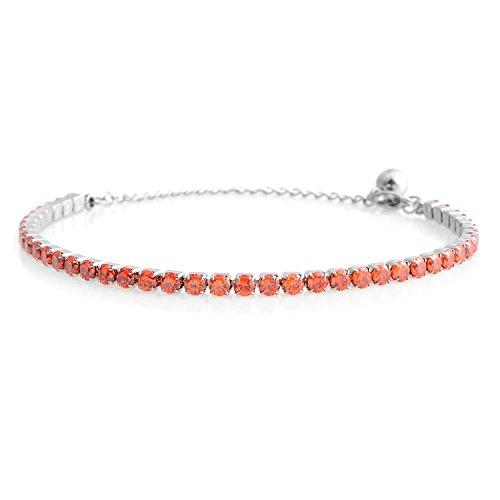 Orange Bracelets Genuine (Shop LC Delivering Joy Orange Cubic Zirconia Eternity Bridal Tennis Bracelet for Women CZ Classic Stainless Steel Jewelry 7