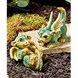 Yoda Ceramic (MattsGlobal Mythical Enchanting Fairytale Baby Dragons Blast Frolick Cold Cast Ceramic Garden Statues (Set of 2 Baby Dragons))