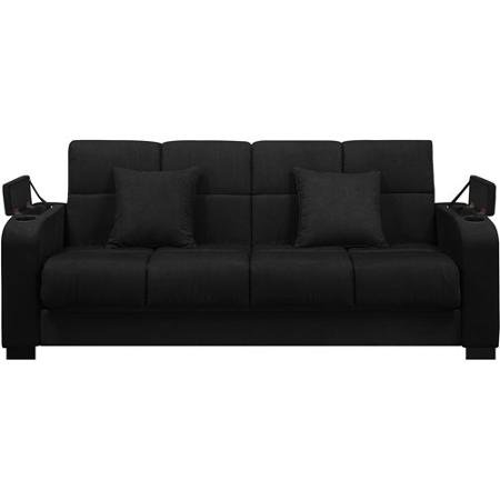 Amazon Com Tyler Black Microfiber Storage Arm Convert A Couch Sofa