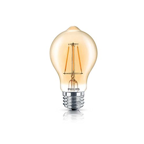 Philips LED Amber Glass A19 Dimmable Vintage Filament Light Bulb: 350-Lumen, 2000 Kelvin, 4.5-Watt (60-Watt Equivalent) E26 Base, Amber, 4-Pack Amber Led Lamp