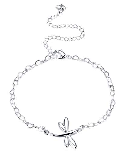 Cutesmile Fashion Jewelry 925 Sterling Silver Cute Dragonfly Heart Chain Anklet